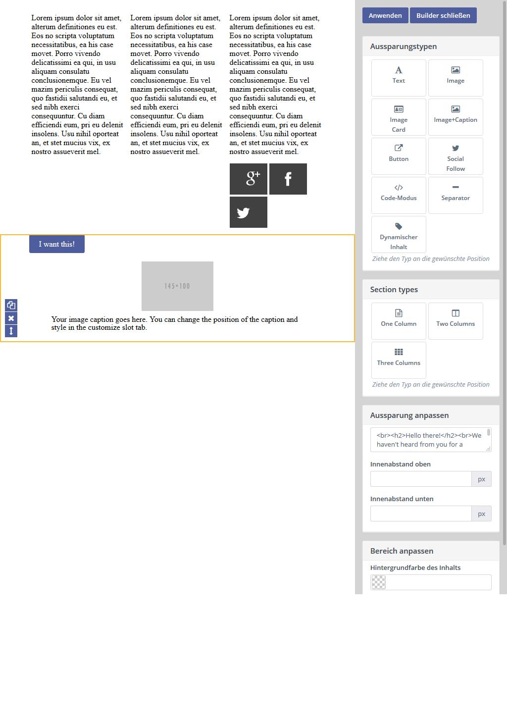 Mautic Email Builder Benutzeroberfläche