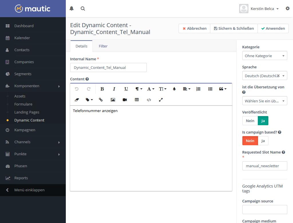 Mautic Dynamic Content alternativer Inhalt